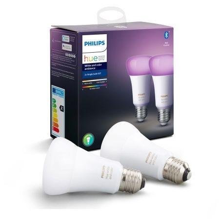 Hue Smart Bulb White Colour Ambiance 9W A60 E27 LED Set of 2