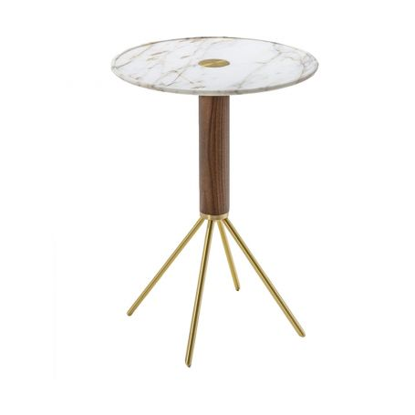 Jelly 55 Side Table Round White Calacatta Gold