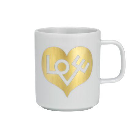 Coffee Mug Love Heart Gold