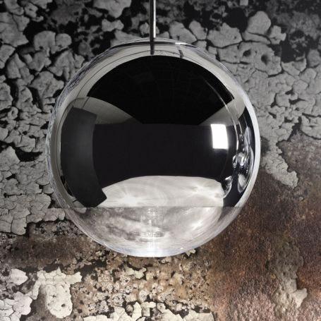 Mirror Ball LED Pendant Light System Round Chrome