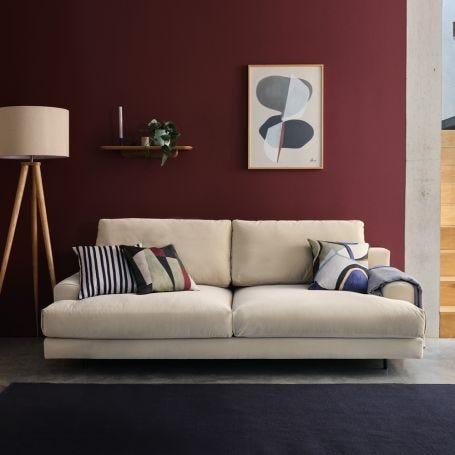 Orso 3 Seater Sofa Smart Luxe Velvet Biscuit Black Feet