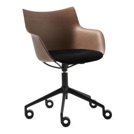 Q Wood 3D Swivel Chair Dark Wood Black Upholstered Seat S1