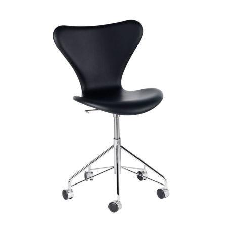Series 7 Fully Upholstered Swivel Chair Leather Basic Black