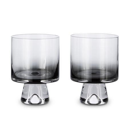 Tank Low Ball Glasses Set of 2 Black