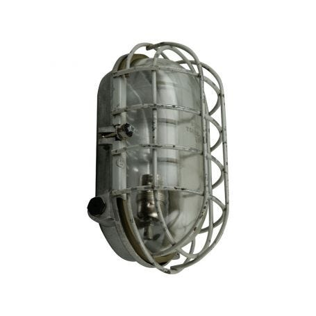Vintage 1970s Caged Bulkhead Wall Light