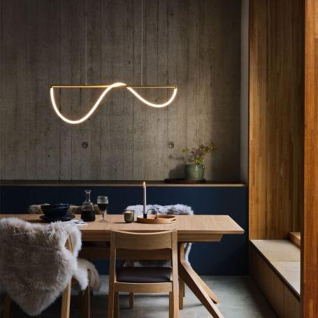 Wave LED Long Pendant Light Satin Gold