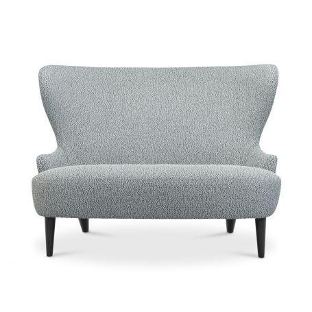 Wingback Micro Sofa Grey Wool Black Legs