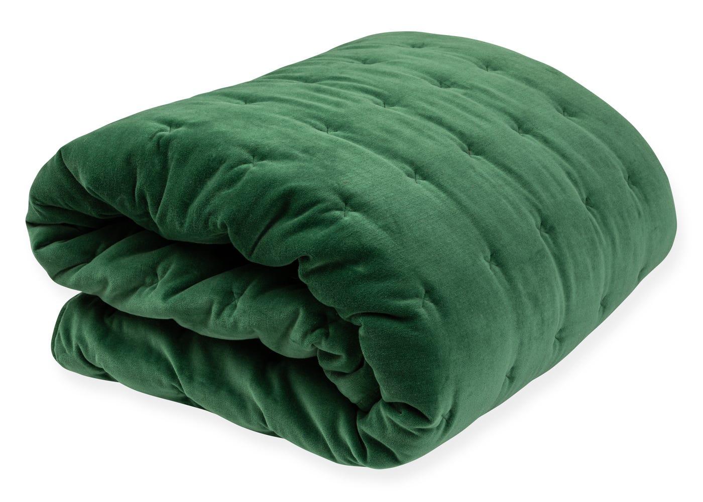 Heal's Velvet Quilt Emerald Green 240 x 260cm