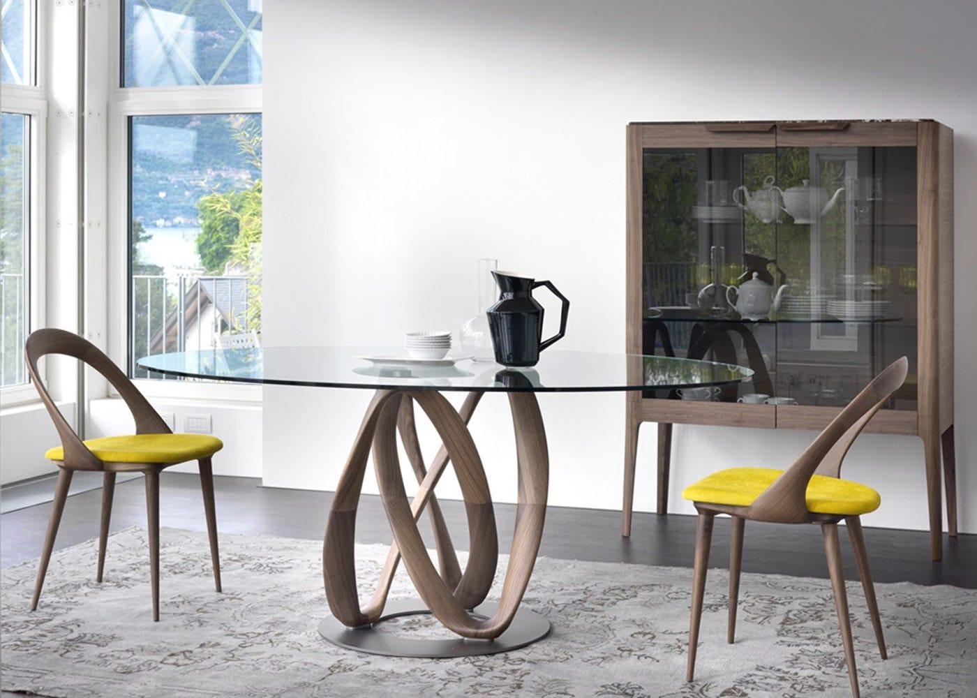 Porada Infinity Elliptical Table Glass, Canaletta Walnut & Chrome