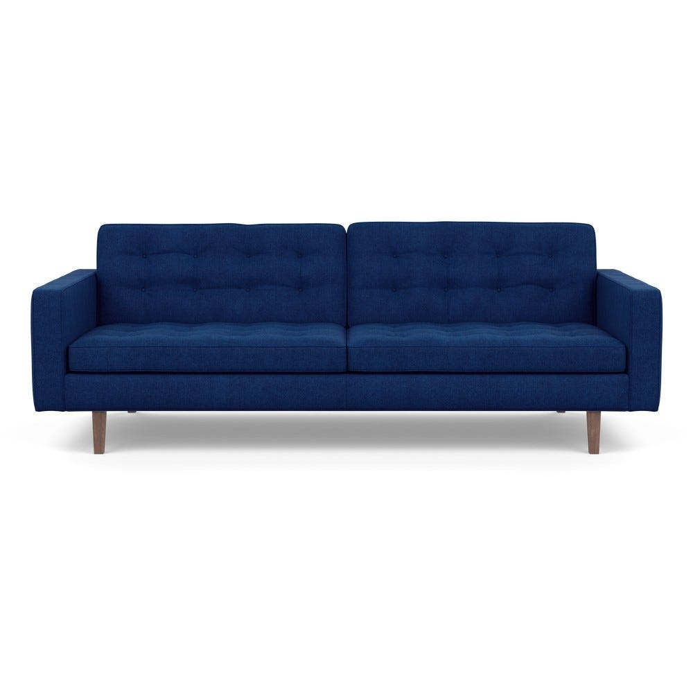 Heal's Hepburn 4 Seater Sofa St Moritz Wool Blue Walnut Feet
