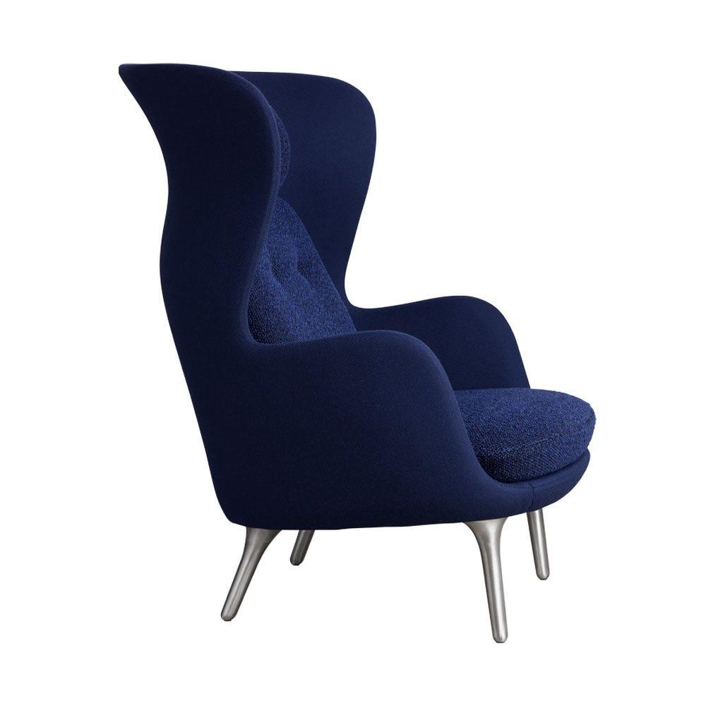 Fritz Hansen Ro Easy Chair Dark Blue and Twill Fabric Aluminium Legs