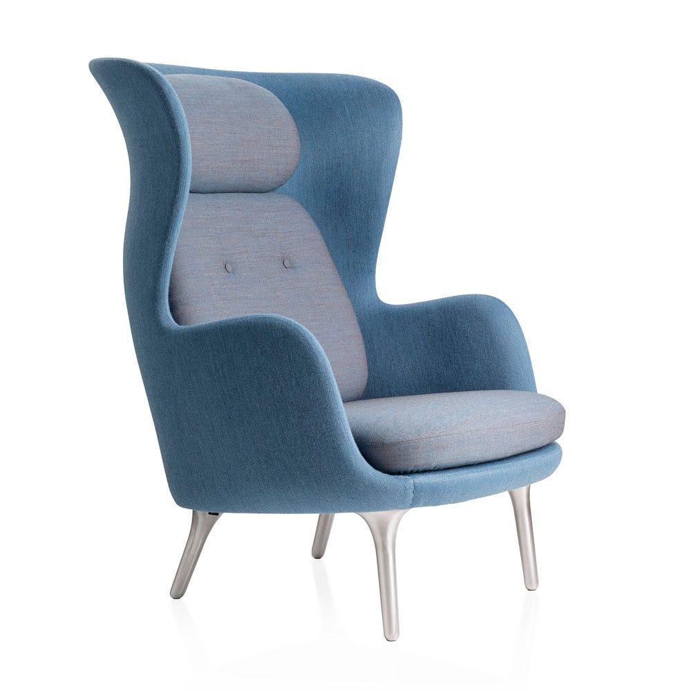 Fritz Hansen Ro Easy Chair Light Blue Fabric Aluminium Legs