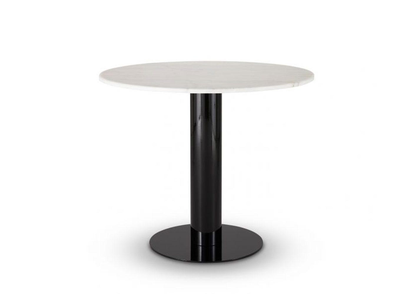 Tom Dixon Tube Dining Table Black Base White Marble Top