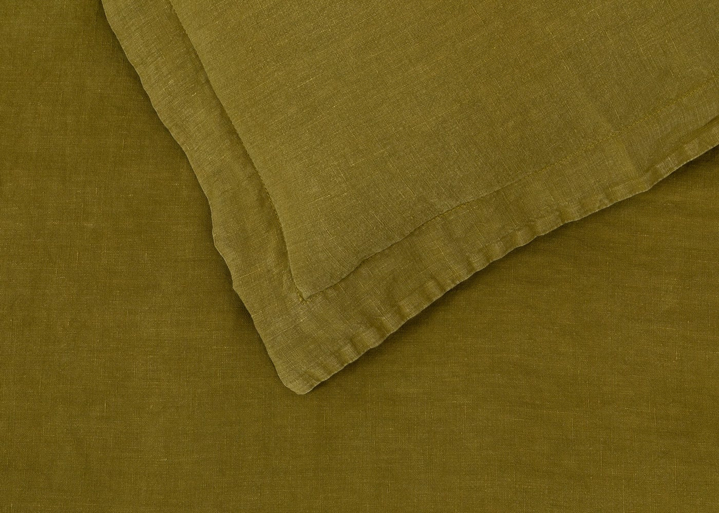 Heal's Washed Linen Olive Fitted Sheet King