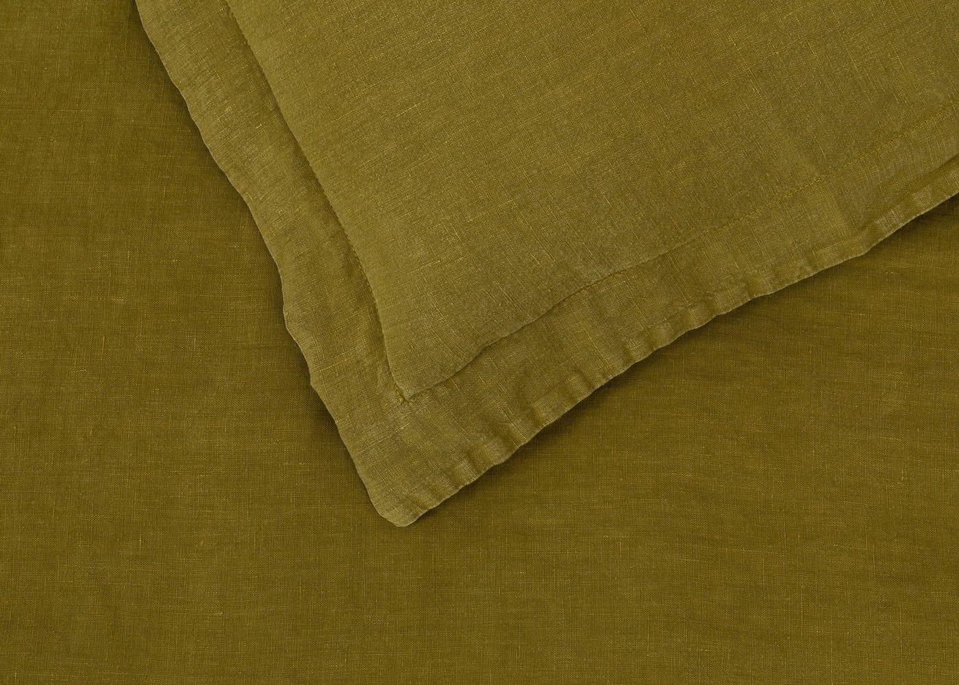 Heal's Washed Linen Olive Duvet Cover King