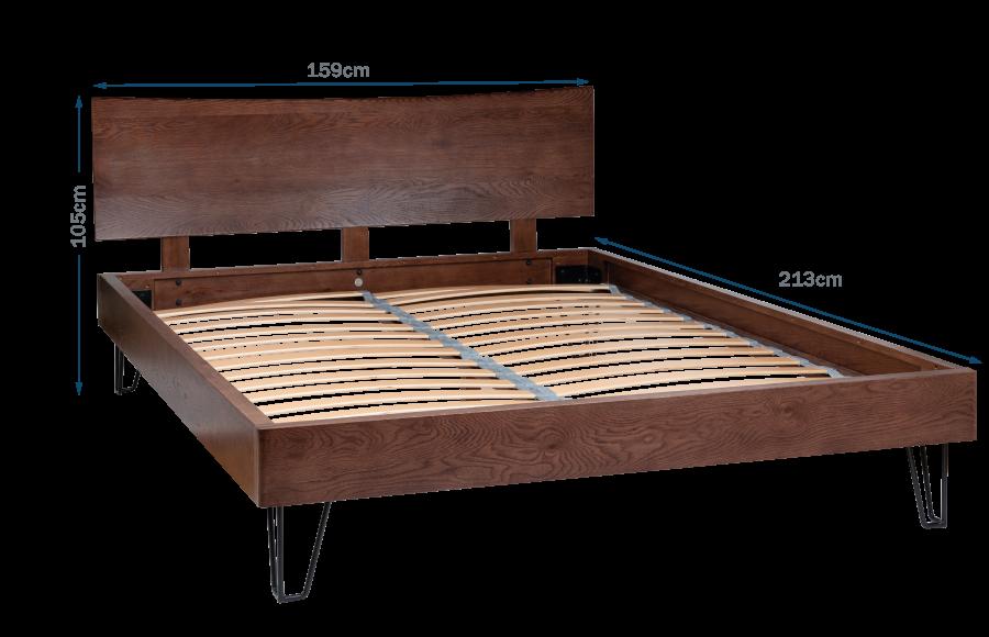 Brunel Bed with Oak Headboard King Dark Wood