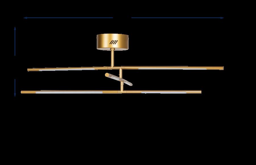 Saber LED Flush Chandelier Gold