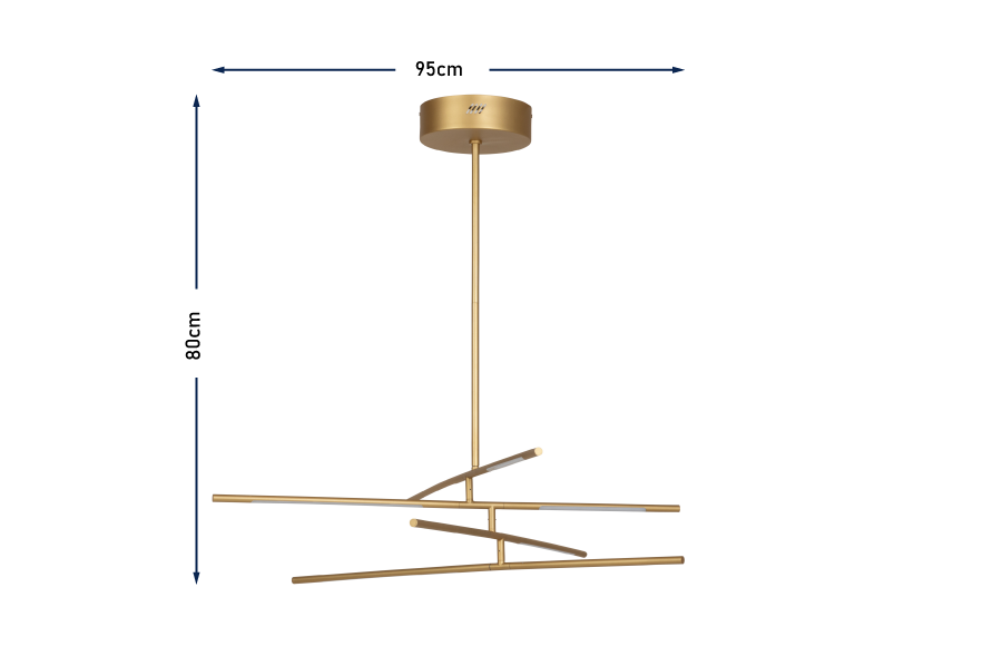 Saber LED Multi Arm Chandelier Gold