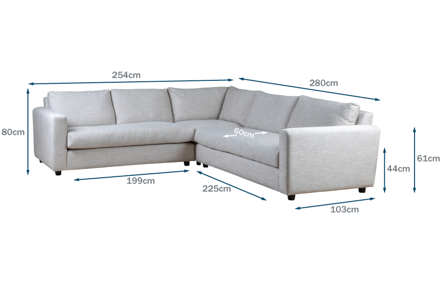 Nimbus Large Corner Sofa Technical Drawing
