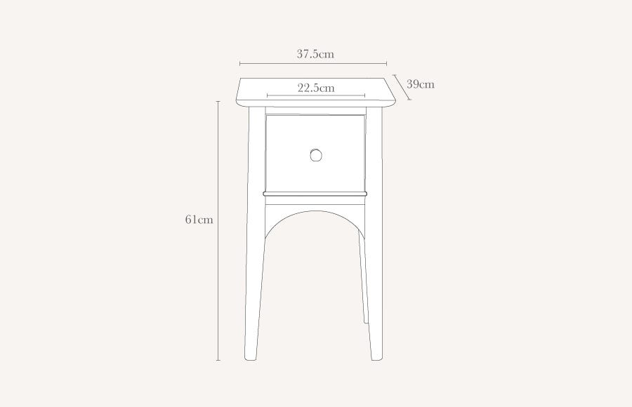 Blythe Compact Bedside Table Technical