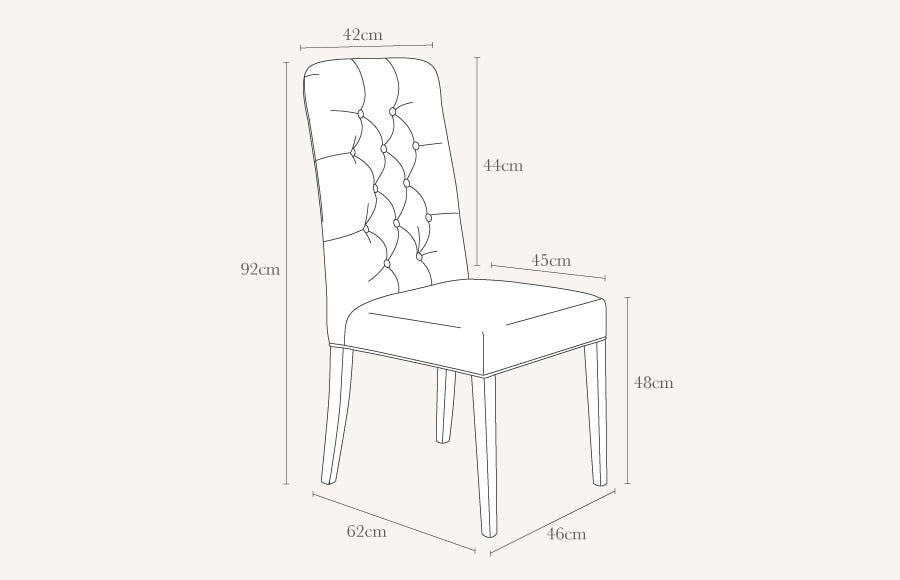 Chartwell Dining Chair Technical Drawing