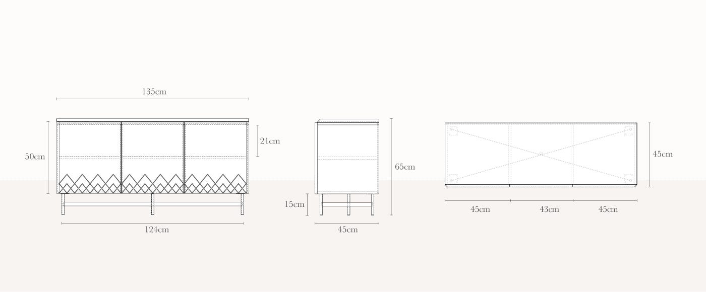 Dodie Sideboard Technical Drawing