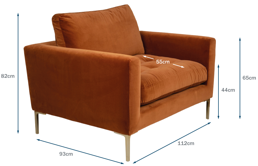 Eton Loveseat Technical Drawing
