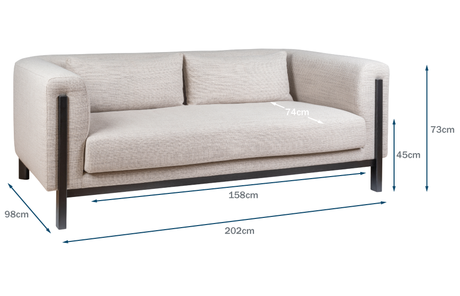 Massimo 3 Seater Technical Drawing