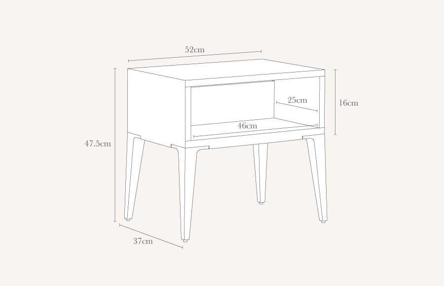 Bretton Bedside Table Technical