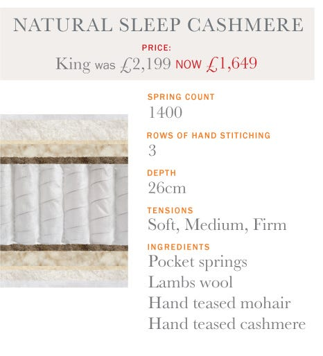 Natural Sleep Cashmere Mattress - Summer Sale 2017