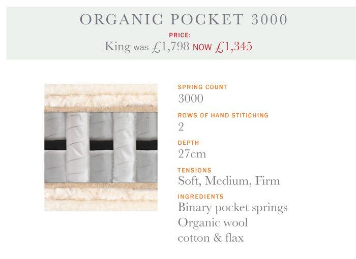 Organic Pocket 3000 Mattress - Summer Sale 2017