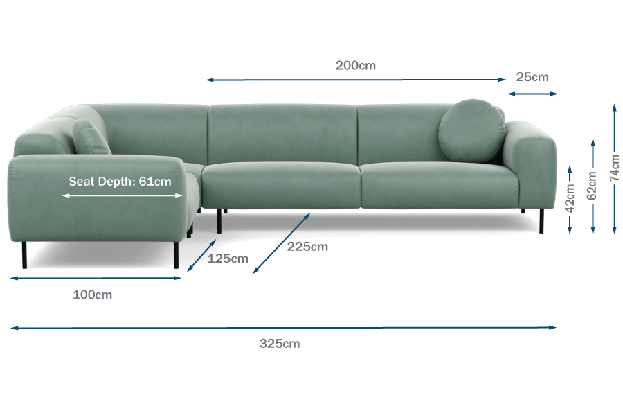 Luna Left Hand Facing Corner Sofa Technical Drawing