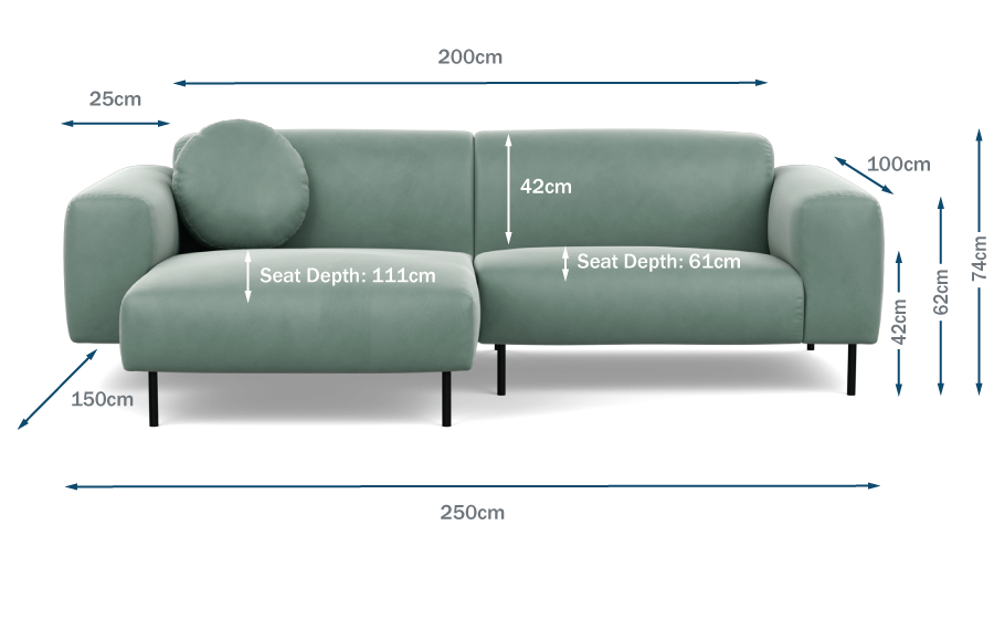 Luna Left Hand Facing Corner Chaise Technical Drawing