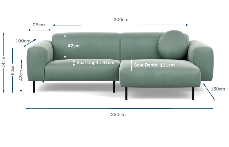 Luna Right Hand Facing Corner Chaise Technical Drawing