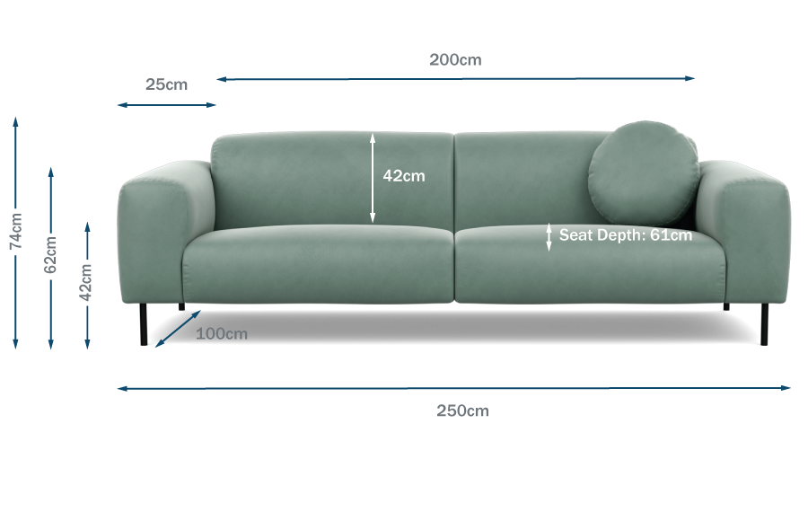 Luna 4 Seater Sofa Technical Drawing
