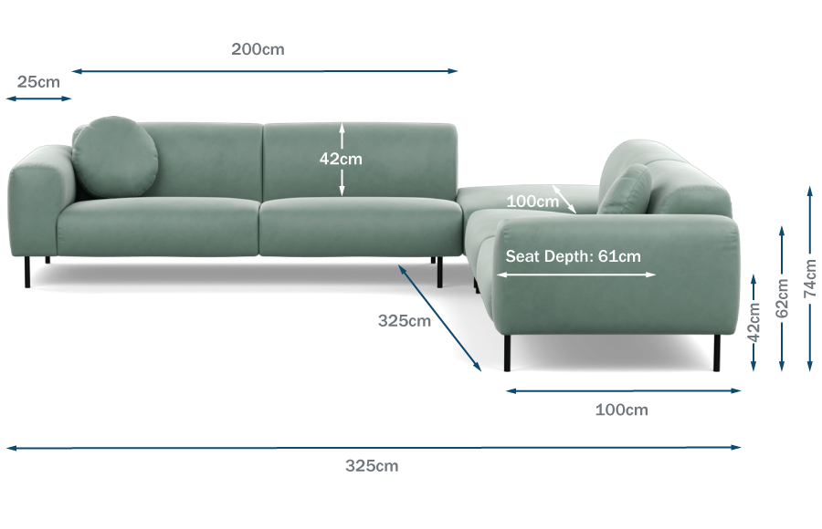 Luna Large Corner Sofa Technical Drawing