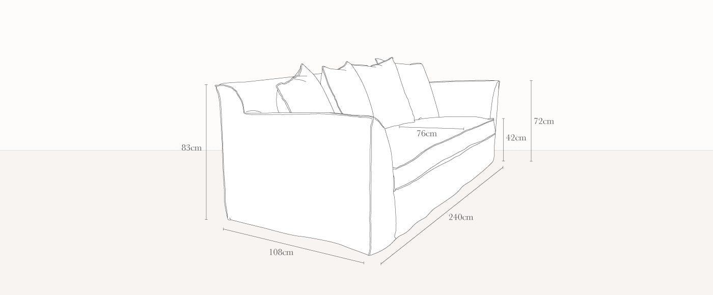Bellagio 4 Seater Sofa Technical Drawing