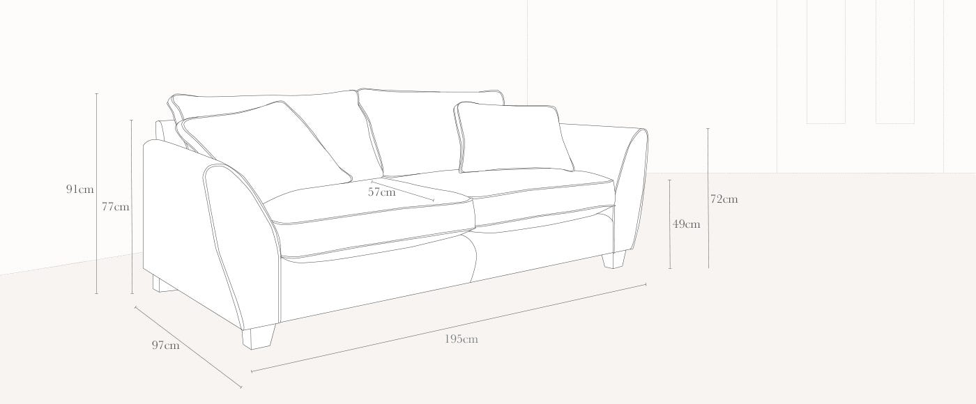 Torino 3 Seater Technical Drawing
