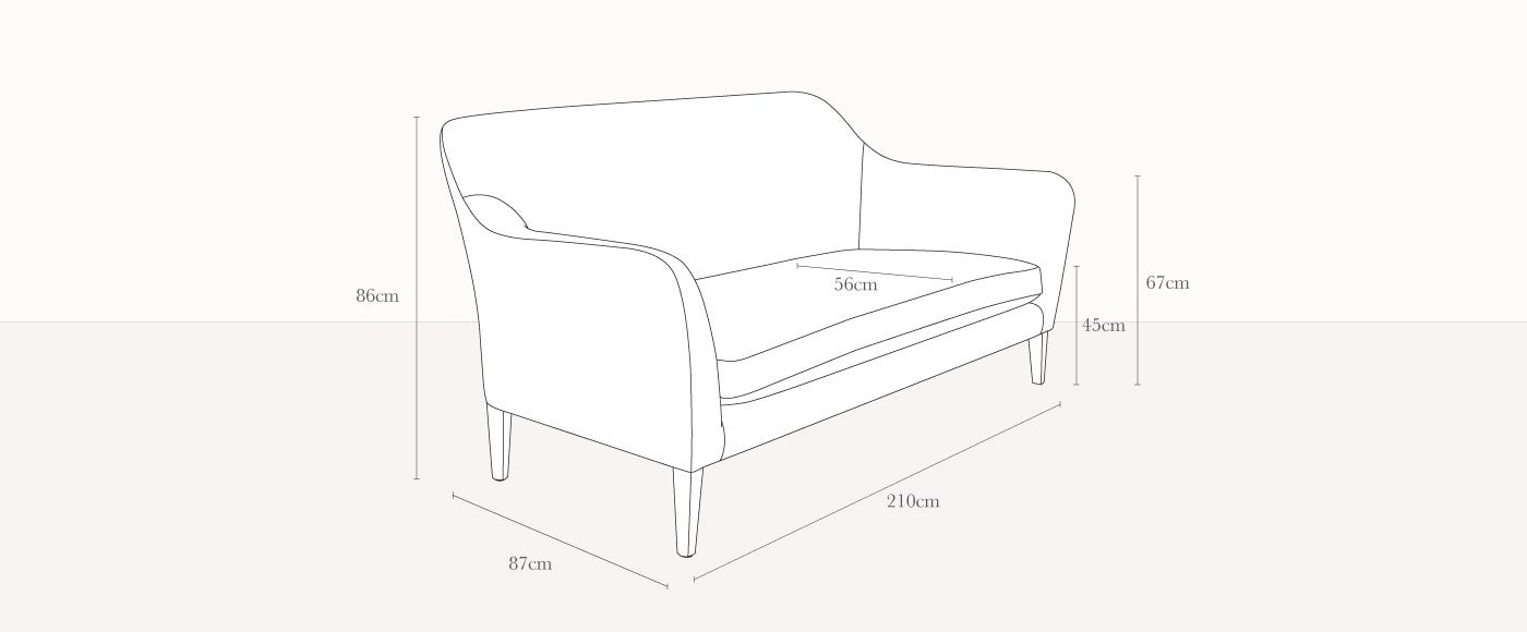 Wallis 4 Seater Technical Drawing