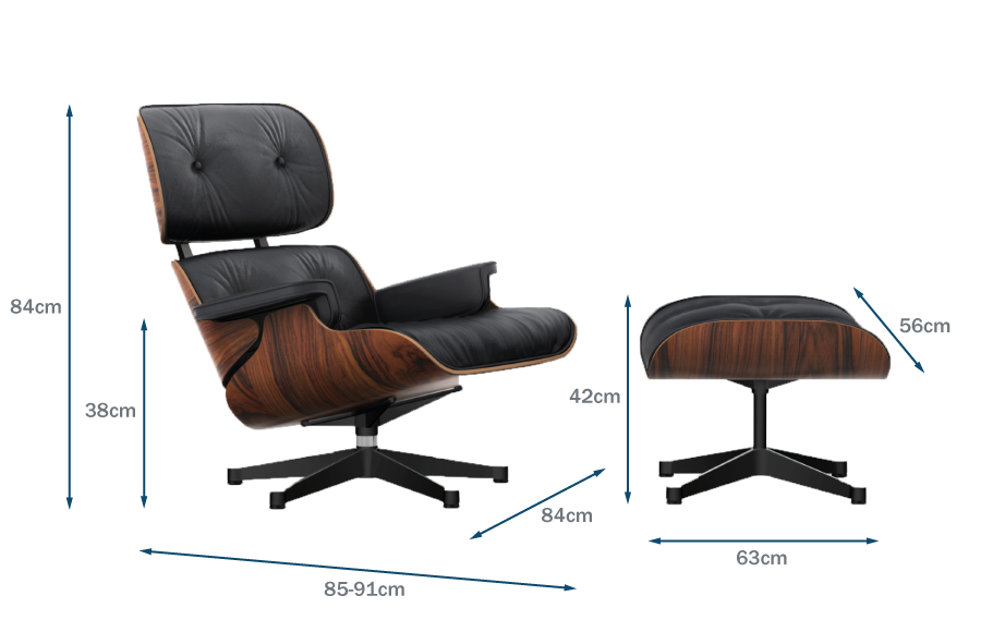 Eames Lounge Chair & Ottoman Classic Dimensions Technical