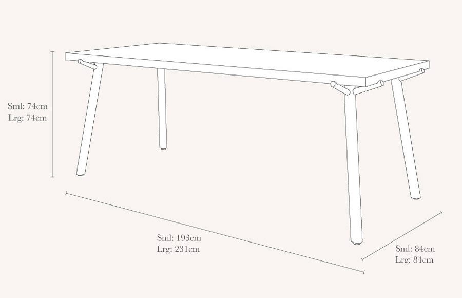 Branch Dining Table Technical Drawing