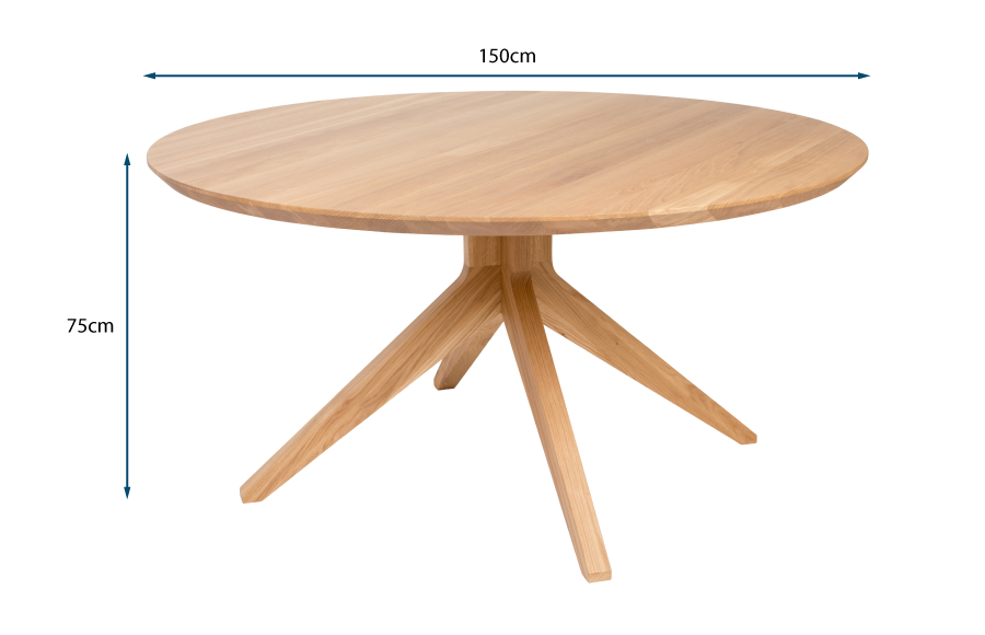 Cross Round Dining Table Oak