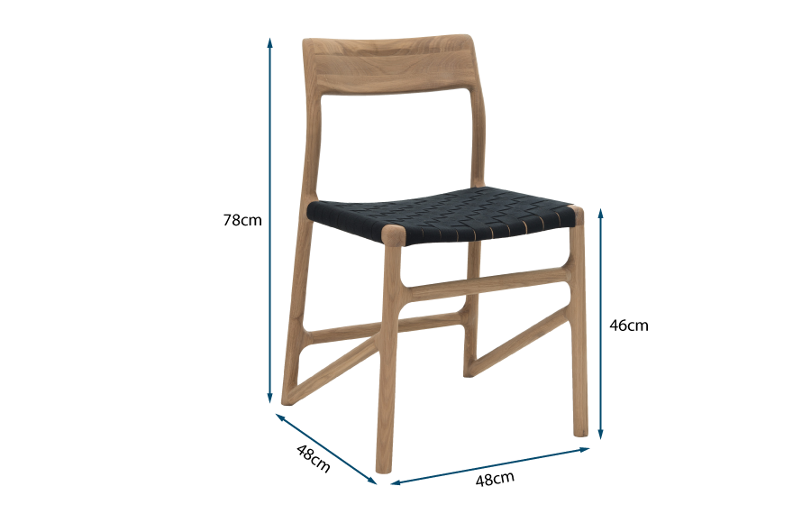 Fawn Dining Chair Oak & Black Webbing