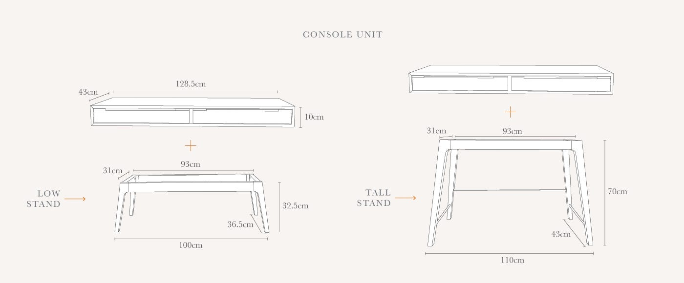 Stipo Console Table Technical drawing